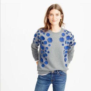 J. Crew 3D Blue Floral Applique Sweatshirt